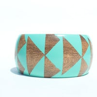 Seafoam Stained Wood Bangle-S-XL