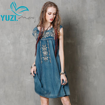 Women Summer Dress 2017 Yuzi.may Boho New Denim Vestidos O-Neck A-line Embroidery Loose High Waist  Thin Sundresses  A8137