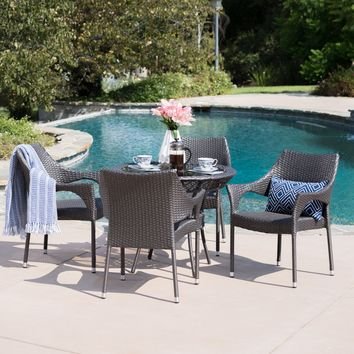 Mage Outdoor 5 Piece Gray Wicker Dining Set with Tempered Glass Table Top