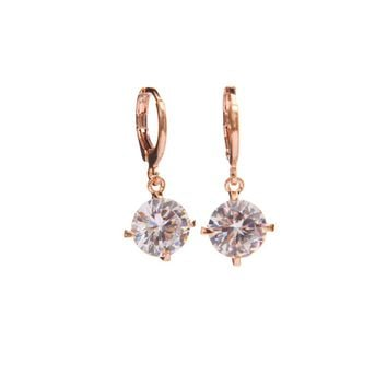 Gold Color with  Clear Cubic Zircon Water Drop Earrings