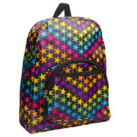 Blue Banana Stars Mini Backpack, black backpack, multi coloured stars UK