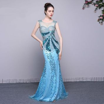 Cap sleeve Beads Mermaid Long Evening Gown Formal Dress