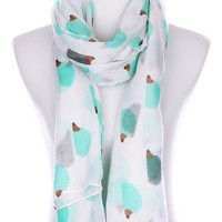 White Hedgehog Print women's Scarf
