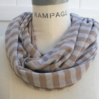 INFINITY SCARF Free Shipping  Cafe Latte Brown Knitted Jersey Cotton  Stripes  Scarf  Autumn Neckwarmer - by PiYOYO