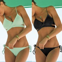 push up vintage  wrap bikini top Criss Cross bandage swimwear bathing suits
