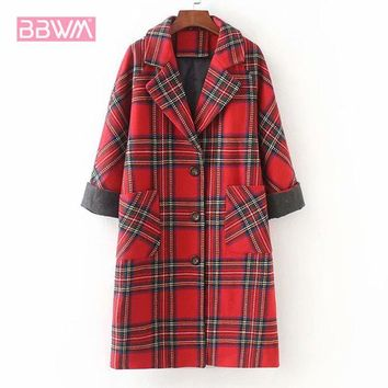 Trendy Exquisite women's 2018 winter new hit color plaid woolen coat in the long loose casual women's jacket  Single-breasted lapel red AT_94_13