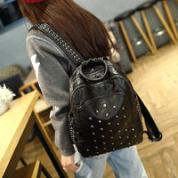 Studded Black Leather Backpack Daypack Travel Bag Motorcycle Bag