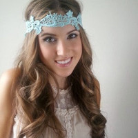 Mint Boho head band,  hippie headband