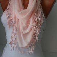 Soft pink Shawl Scarf - Headband Cowl with Lace Edge-Summer Trends