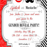 Printable Funny Gender Reveal Baby Shower Invitation. Mustache or Lipstick. Gender Reveal Party. Red, Black, White, Gray Gender Reveal