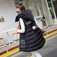 Women Winter Fashion Padded Down Vest with Hat Coat [9378739396]
