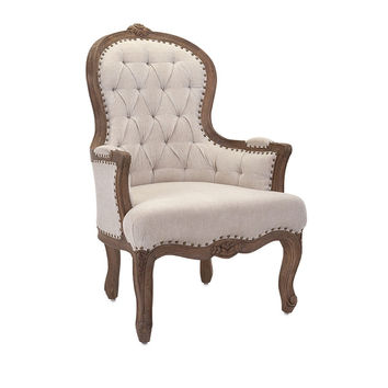 Carved Natural Wood and Linen Accent Chair