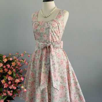 My Lady - Pastel Green Floral Dress Spring Summer Sundress Pink Floral Party Dress Floral Bridesmaid Dress Pink Floral Tea Dress XS-XL