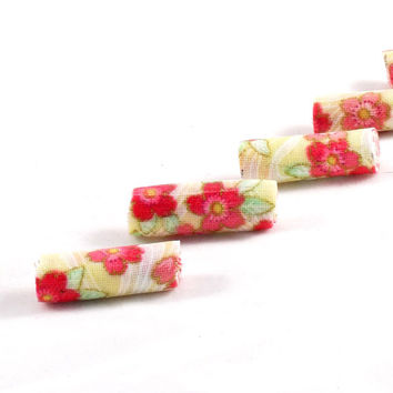 Fiber Beads Textile Beads Fabric Beads in Coral, Green, Yellow and Cream Floral Print