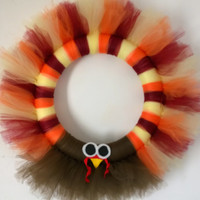 "Turkey 14"" TULLE Wreath TUTU Thanksgiving Door Decor Fall Autumn"