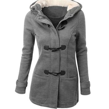 With a hat fashion solid color Parkas women winter warm jacket 2016 long sleeves plush coat