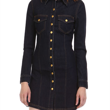 Button Detail Denim Shirtdress