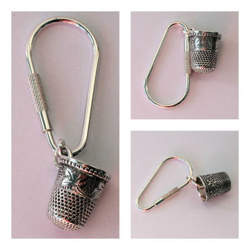 Peter Pan Thimble Jewelry Antique Grapevine Solid Sterling Silver Key Ring, Peter Pan and Wendy Hidden Kisses