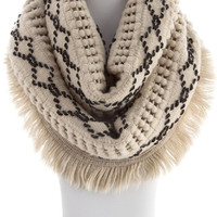 Bohemian Country Chic Cozy Soft Diamond Stitch Pattern Infinity Sweater Scarf