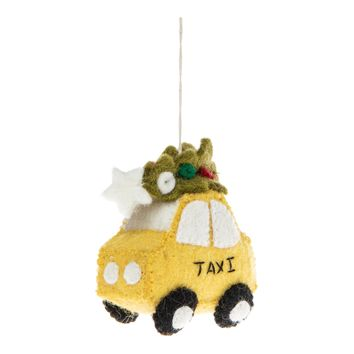 NYC Taxi with Tree Ornament