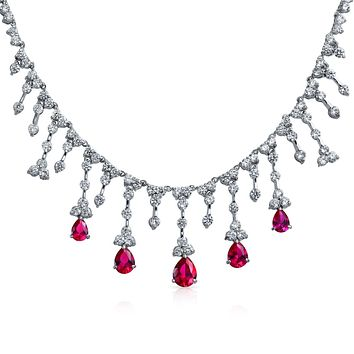 Bridal Red CZ Tear Dangle Ruby Statement Necklace Silver Plated