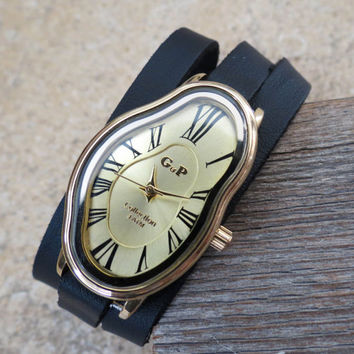 Salvador Dali Watch - Women's Watches - Leather Watch - Wrist Watch - Watches For Women - Dali Wrist Watch - Black Watch - Wrap Watch