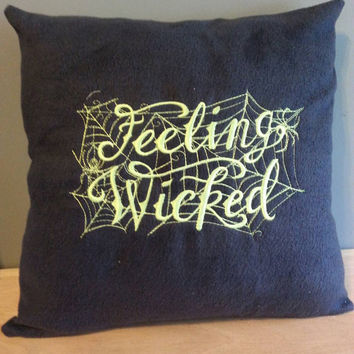 handmade throw pillow cover feeling wicked spider web embroidered design gray fleece lime green back