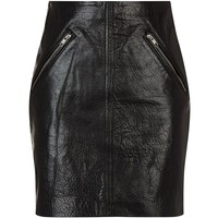 Maje Juice Leather Skirt Black | Harrods.com