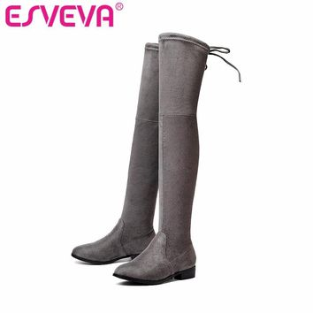 ESVEVA 2017 Over The Knee Boots Square Med Heel Women Boots Sexy Ladies Lace Up Stretc