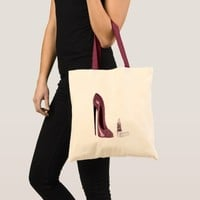 Red Stiletto Shoe and Lipstick Tote Bag