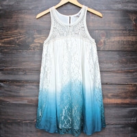 vanity vintage lace flowy dress - ombre teal
