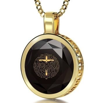 """Psalm 23"", 14k Gold Necklace, Cubic Zirconia"