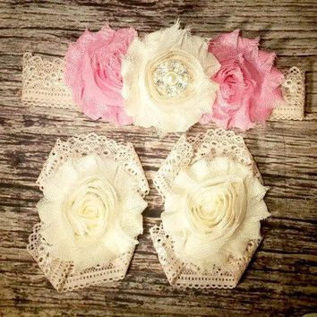 Pink and Cream Shabby Flowers and Rhinestone on Vintage Peachy Lace / Baby Headband / Baby Girl Headband / Vintage Headband / Beautiful Bows