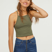 Short Camisole Top - Khaki green - Ladies | H&M US