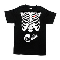 Mens Skeleton Shirt Expecting Dad Ribage T Shirt Skeleton Costume Halloween Outfit Beer TShirt Pizza And Beer Skeleton Mens Tee - SA845
