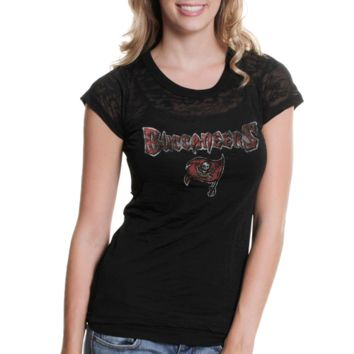Touch by Alyssa Milano Tampa Bay Buccaneers Ladies Draft Diva Premium Burnout T-Shirt - Black