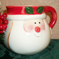 Vintage Christmas Tableware Ceramic Mug Red White Santa Claus Collectible Royal Norfolk Holiday Beverage Serving Cup Home Decor