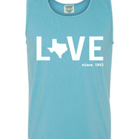 Custom Texas Love Comfort Color Tank Top. Show Your state pride and state love. Perfect for the Summer and the Beach