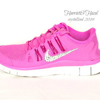 Nike Free 5.0 in Red Violet/Bright Magenta/Summit White/Iron Ore with Swarovski crystal details