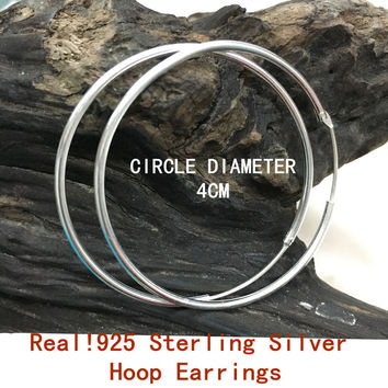 REAL!!!SILVER 925 STERLING SILVER BIG HOOP EARRINGS OUT DIAMETER 4CM /40MM FOR WOMEN GIRLS