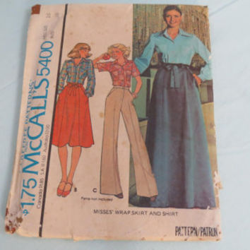 Vintage McCall's misses wrap skirt and shirt pattern 5400 made 1976 carefree pattern