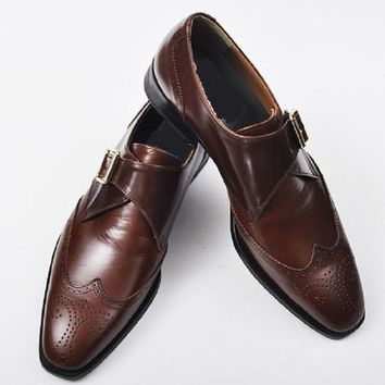 Wakeby Wolf Formal Men Brown Brogue Wingtip Single Monk Genuine Handmade Leather Shoes