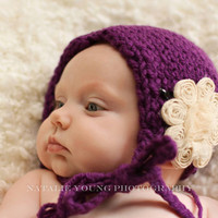 Knitted Bonnet Shabby Flower, Newborn Photo prop, Baby Girl Bonnet, Newborn Girl Props,  Infant Hat, Hats for babies, etsy kids