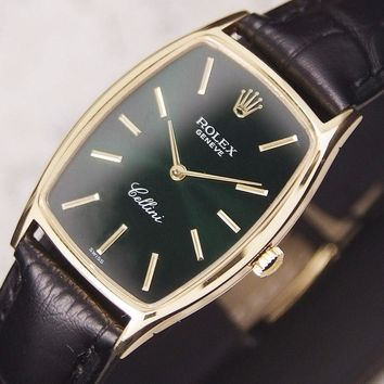 Authentic Rolex Cellini Green Dial Ref.3807 18K Solid Gold Manual Mens Watch