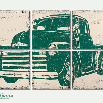 Old Vintage Pickup Truck Art - Large 24x36 Vintage Decor - Perfect for boys rooms