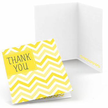 Chevron Yellow - Baby Shower Thank You Cards - 8 ct