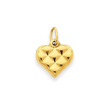 14k Yellow Gold Puffed Heart Pendant and Charm, 15mm