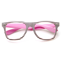 Two Tone Pastel Striped Clear Lens Horned Rim Glasses 9334