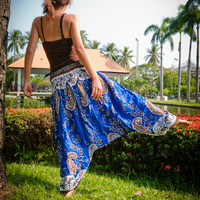 Thai Harem Pants in Cotton, Blue, White and Amber Paisley Design(S-M-L-XL) one size fits all
