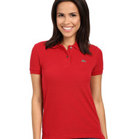 Lacoste Women's Red Color Short Sleeve Pique Original Fit Polo Shirt